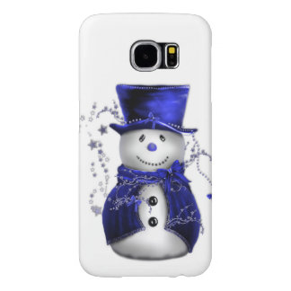 Blue Snowman Christmas Samsung Galaxy S6 Cases