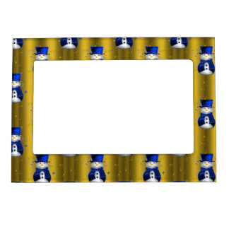 Blue Snowman on Gold Christmas Magnetic Picture Frame