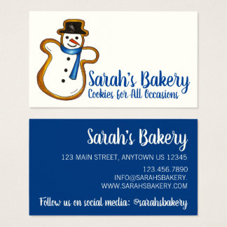 Blue Snowman Sugar Cookie Bakery Pastry Chef Food Business Card