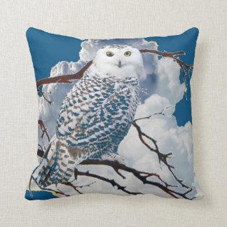 BLUE SNOWY OWL IN TREE ART CUSHION