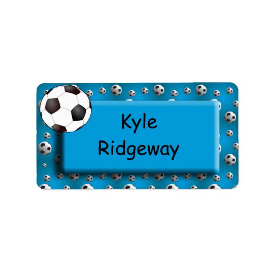 Blue Soccer Ball - Boys school name label