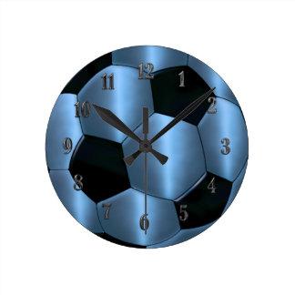 Blue Soccer Ball Clock