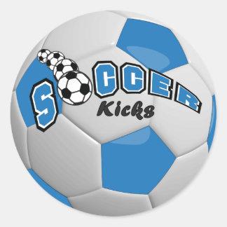 Blue Soccer Ball Player Kicks Round Sticker
