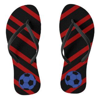 Blue Soccer Ball Striped Flip Flops Thongs