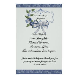 Blue Sophisticated Country Wedding Program 14 Cm X 21.5 Cm Flyer