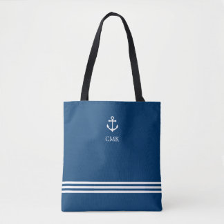 Blue Sophisticated Stripes with Nautical Anchor Tote Bag