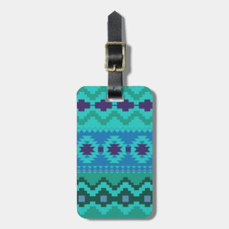 blue southwest pattern -  western abstract art luggage tag