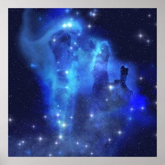 Blue Space Cloud Poster