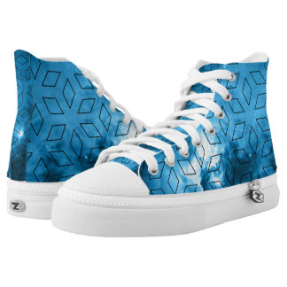 Blue space diamonds high tops