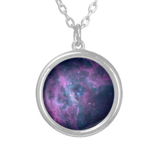 Blue Space Nebula Silver Plated Necklace