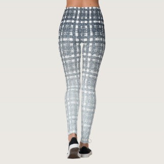 Blue Space Punk Plaid Silver Fashion Leggings