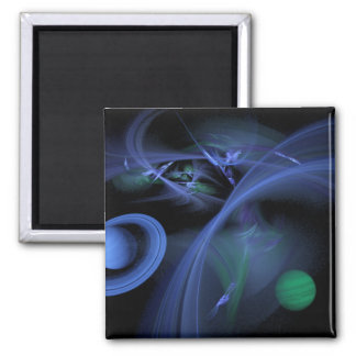 Blue Space Square Magnet