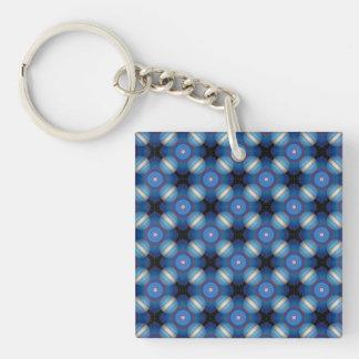 Blue Spacey Geometric Key Ring