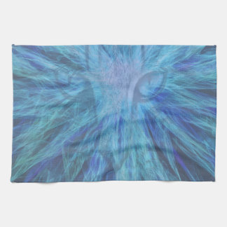 Blue sparking cat tea towel