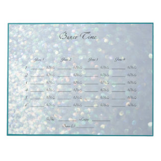 Blue Sparkle Bunco Night Sheets Notepad