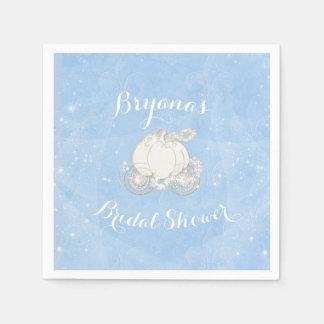 Blue Sparkle Carriage Cinderella Elegant Party Paper Serviettes