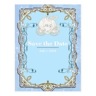 Blue Sparkle Carriage Cinderella Save the Date Postcard