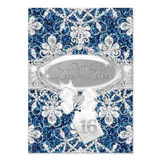 Blue Sparkle Diamond & Glitter Sweet 16 Invite
