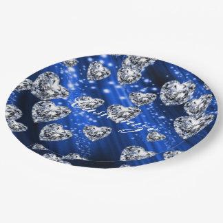 Blue Sparkle Diamond Hearts Napkins Paper Plate