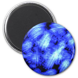 Blue sparkle graphic artistic work 6 cm round magnet