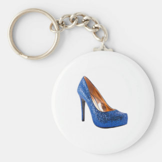 Blue Sparkle High Heel Shoe Fashion Key Chains