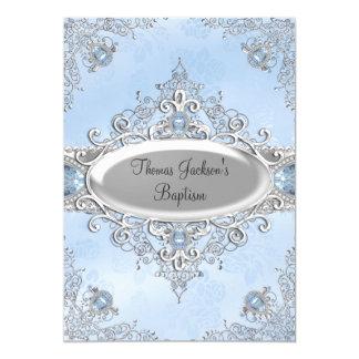Blue Sparkle Jewel Baptism/Christening Invitation