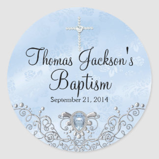 Blue Sparkle Jewel Baptism Sticker