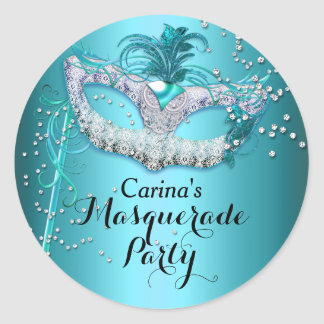 Blue Sparkle Masquerade Party Sticker