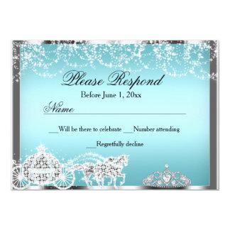 Blue Sparkle Princess Theme RSVP Reply Card