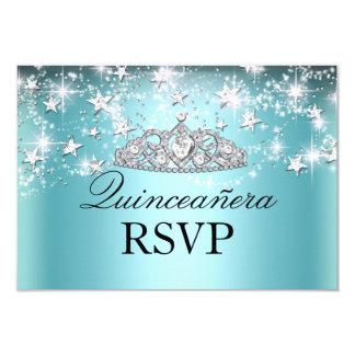 Blue Sparkle Tiara & Stars Quinceanera RSVP Custom Invitation Cards