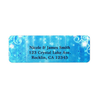 Blue Sparkling Frozen Winter Wonderland Snowflakes Return Address Label