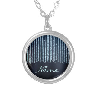 Blue sparkling  Stripes Round Pendant Necklace