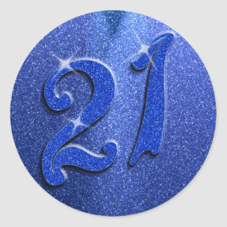 Blue Sparkly 21st Birthday Party Stickers