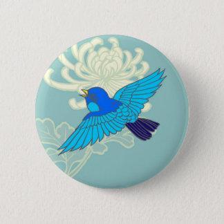 Blue Sparrow 6 Cm Round Badge