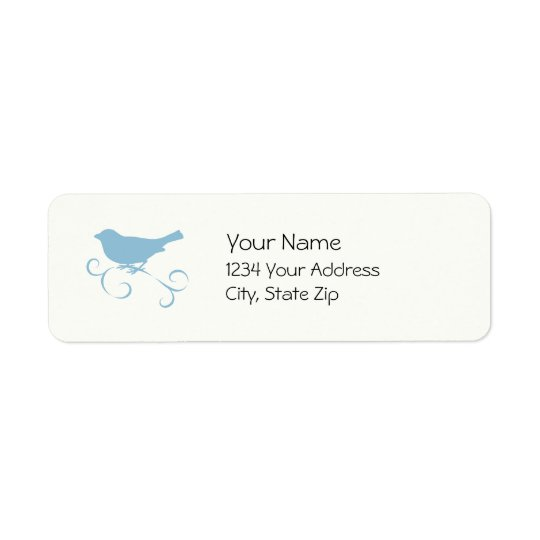 Blue Sparrow with Ribbon Return Address Label