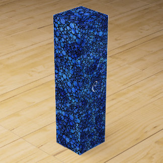 Blue Speckled Abstract Wine Gift Box