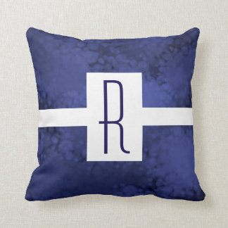 Blue Speckled Monogram Cushion