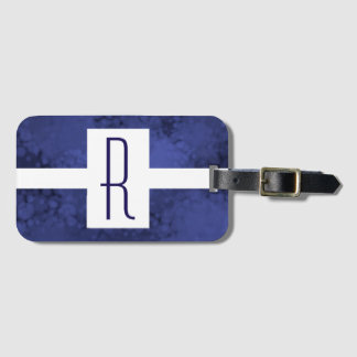 Blue Speckled Monogram Luggage Tag