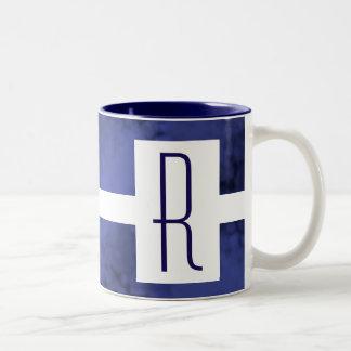 Blue Speckled Monogram Two-Tone Coffee Mug