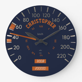 Blue Speedometer on Dashboard Clock