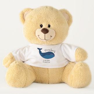 Blue Sperm Whale - Birth Memorial / Announcement Teddy Bear