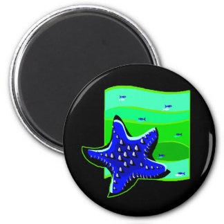 Blue Spiny Starfish 6 Cm Round Magnet