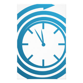 Blue Spiral Arrow Spinning Clock Icon Stationery