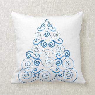 Blue spiral Christmas tree white throw pillow