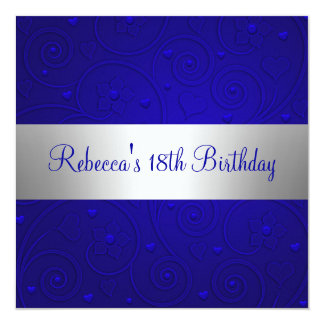 "Blue Spiral Hearts Silver 18th Birthday Party 5.25"" Square Invitation Card"