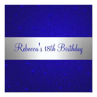 Blue Spiral Hearts Silver 18th Birthday Party 5.25x5.25 Square Paper Invitation Card