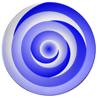 Blue Spiral Illusion by Kenneth Yoncich Porcelain Plates