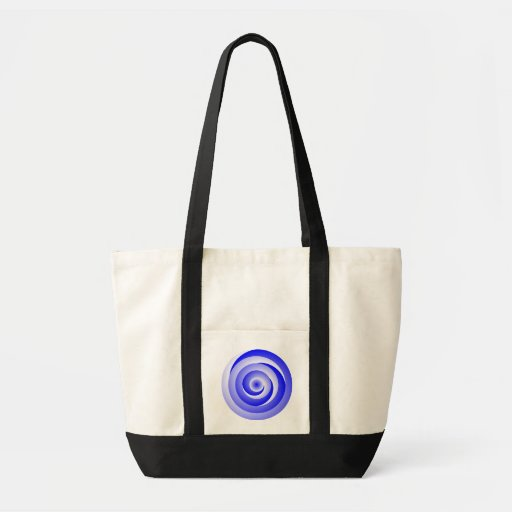 Blue Spiral Illusion Impulse Tote Bags
