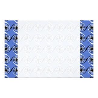 Blue Spiral Wave Graphic Pattern Stationery Design