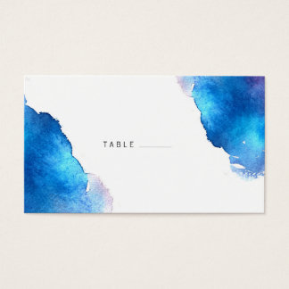 Blue Splash Watercolor Wedding Business Card